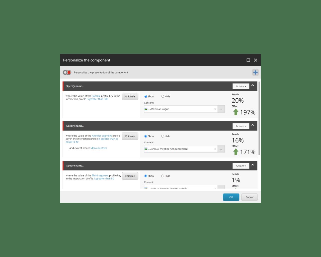Sitecore panel-Personalize the component