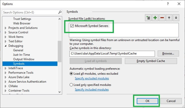 configure debugging in Visual Studio