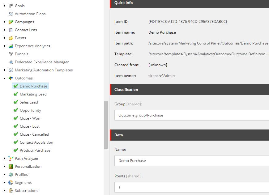 Sitecore outcome event