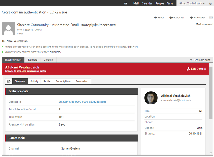 Outlook plugin for Sitecore