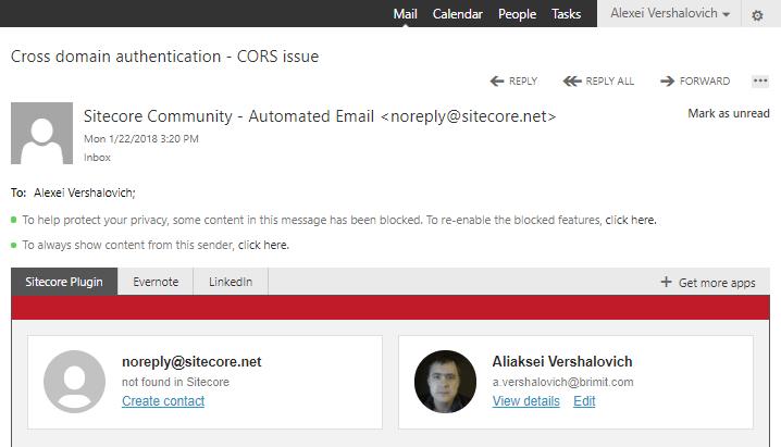 Sitecore integration Microsoft Outlook