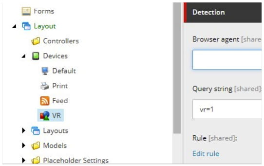 settings - VR and 3D content in Sitecore