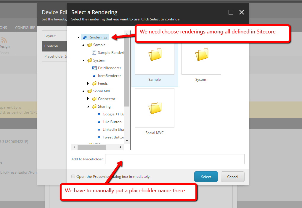 renderings and sublayouts defined in Sitecore